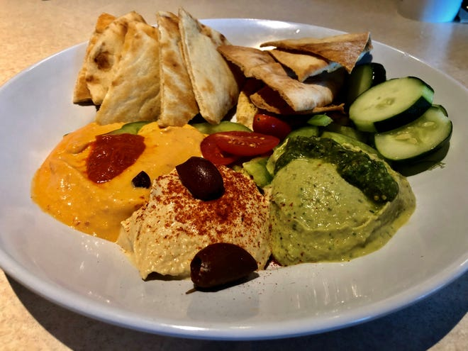 The hummus trio from Zoes Kitchen.