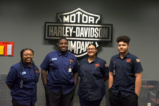 Harley-Davidson's Youth Apprenticeship students from Milwaukee Trade & Tech High School enrolled in the YA Manufacturing-Industrial Equipment program pathway; Kiya Mooney, Jamaris Flowers, Debora Oquendo and Ethan Sanchez (left to right)