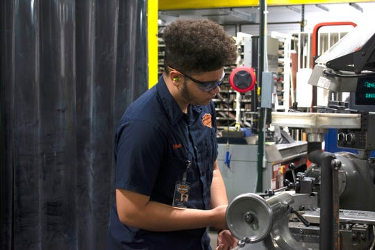 Ethan Sanchez a senior at Milwaukee Trade and Tech High School works at Harley-Davidson as a Youth Apprentice in the YA Manufacturing-Industrial Equipment program pathway through MPS.