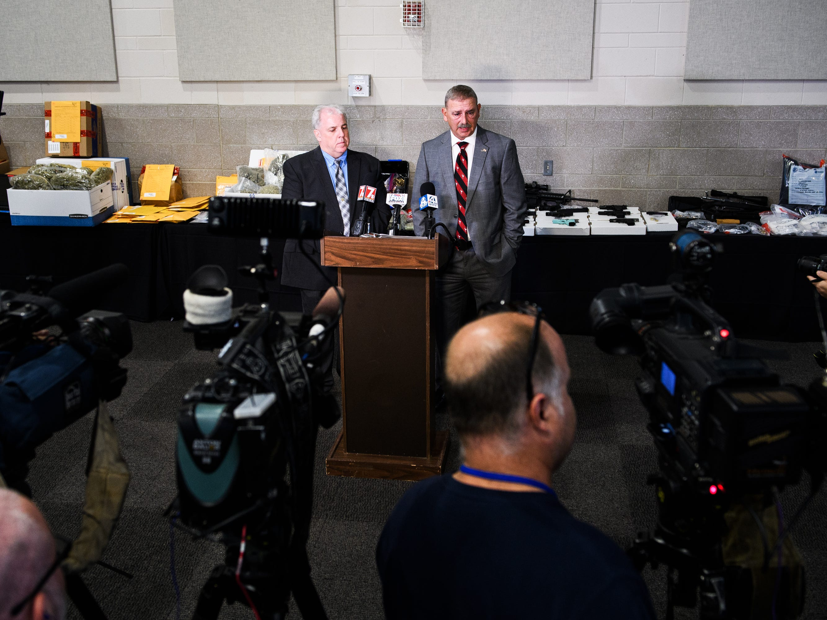 Chuck Wright, the three-termSpartanburg County sheriff who started Rolling Thunderearly in his first term, holds a press conference to tell members of the media how much money, drugs, firearms and other contraband was seized.