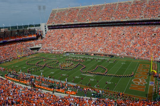 Clemson Marching Band spell out Tigers before the Syracuse game before in Memorial Stadium on Saturday, September 29, 2018.