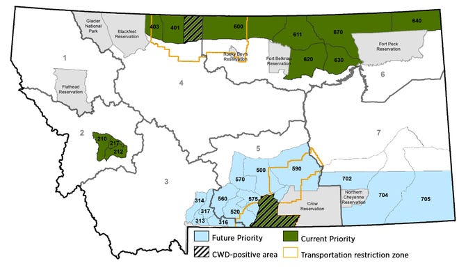 Check stations for collecting CWD samples will be in operation over the weekends and located in Havre, the Maltaarea, as well as shifting between the Scobey and Glasgow areas.