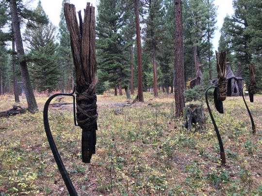 Flathead-area artist Kate Hunt created these face-like, torch-like pieces in Lincoln's Blackfoot Pathways: Sculpture in the Wild sculpture park.