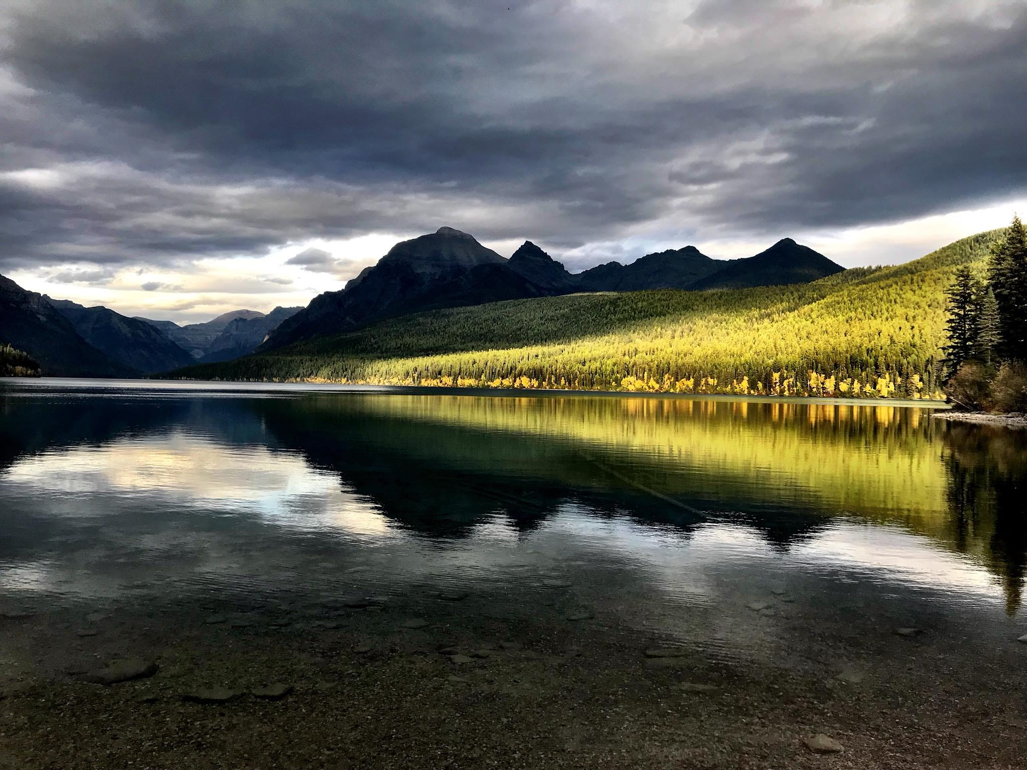 Evening light brightens the banks of crystal-clear Bowman Lake in Glacier National Park in late September