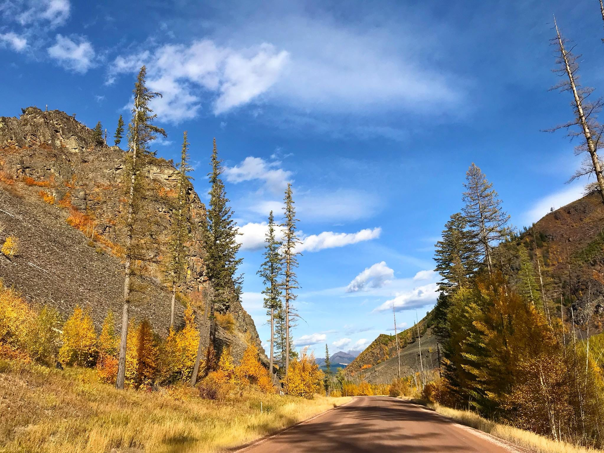 Fall colors along the road to Glacier National Park's remote northwest corner