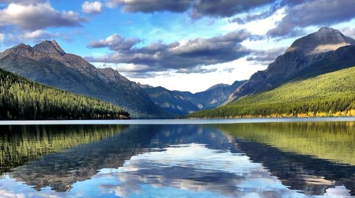 A September evening in Glacier National Park's Bowman Lake