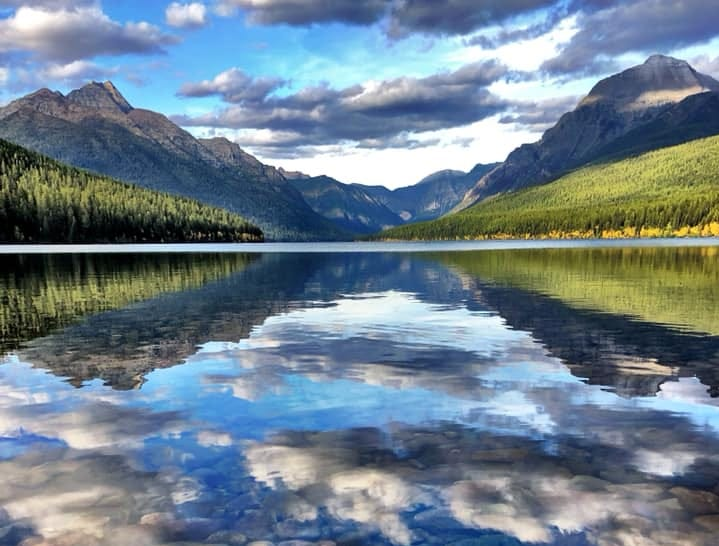 A September evening in Glacier National Park's Bowman Lake