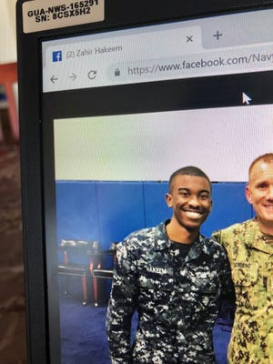 Zahir Hakeem poses in uniform in a 2017 photo posted on the Office of the Master Chief Petty Officer of the Navy's Facebook page. Hakeem was identified as the sailor reported missing on Guam, whose body was later recovered on Sept. 29, 2018.