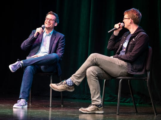 Author Hank Green, right, and special guest John Green speak Sunday at Clowes Hall.