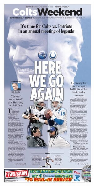 The IndyStar Sports front from Nov. 13, 2009 before a Colts-Patriots game.