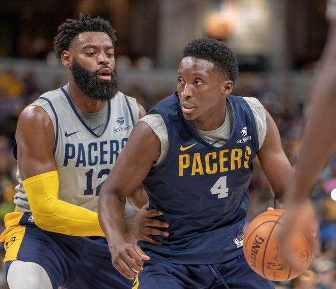Tyreke Evans guards Victor Oladipo during the Pacers FanJam to kick off the 2018-2019 season, Sunday, Sept. 30, 2018. A scrimmage was played, along with a photo session with players, a three-point contest, and performances by the Pacers Power Pack gymnasts, and Pacemates dance team.