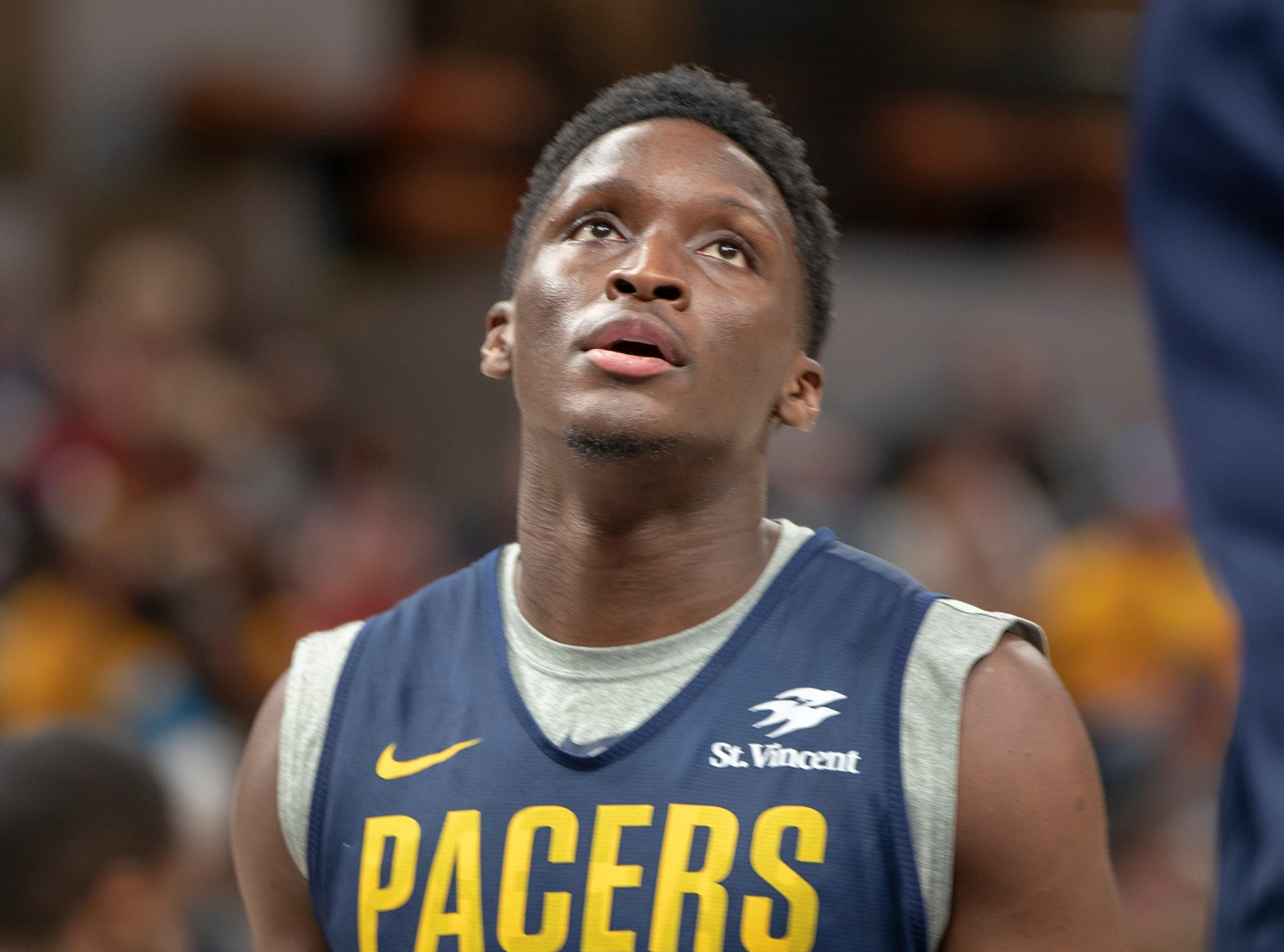 Victor Oladipo on court during the Pacers FanJam to kick off the 2018-2019 season.
