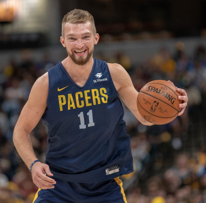 Domantas Sabonis smiles during the Pacers FanJam to kick off the 2018-2019 season, Sunday, Sept. 30, 2018. A scrimmage was played, along with a photo session with players, a three-point contest, and performances by the Pacers Power Pack gymnasts, and Pacemates dance team.