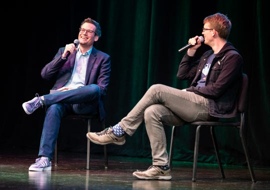 "Authors John Green (left) and Hank Green promoted Hank's debut novel, ""An Absolutely Remarkable Things,"" at Clowes Hall in 2018."
