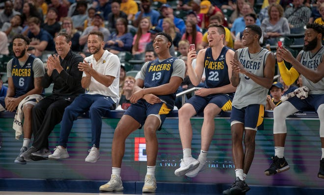 Pacer veterans laugh as rookies entertain fans during a little good-natured rookie hazing at the Pacers FanJam to kick off the 2018-2019 season, Sunday, Sept. 30, 2018. A scrimmage was played, along with a photo session with players, a three-point contest, and performances by the Pacers Power Pack gymnasts, and Pacemates dance team.