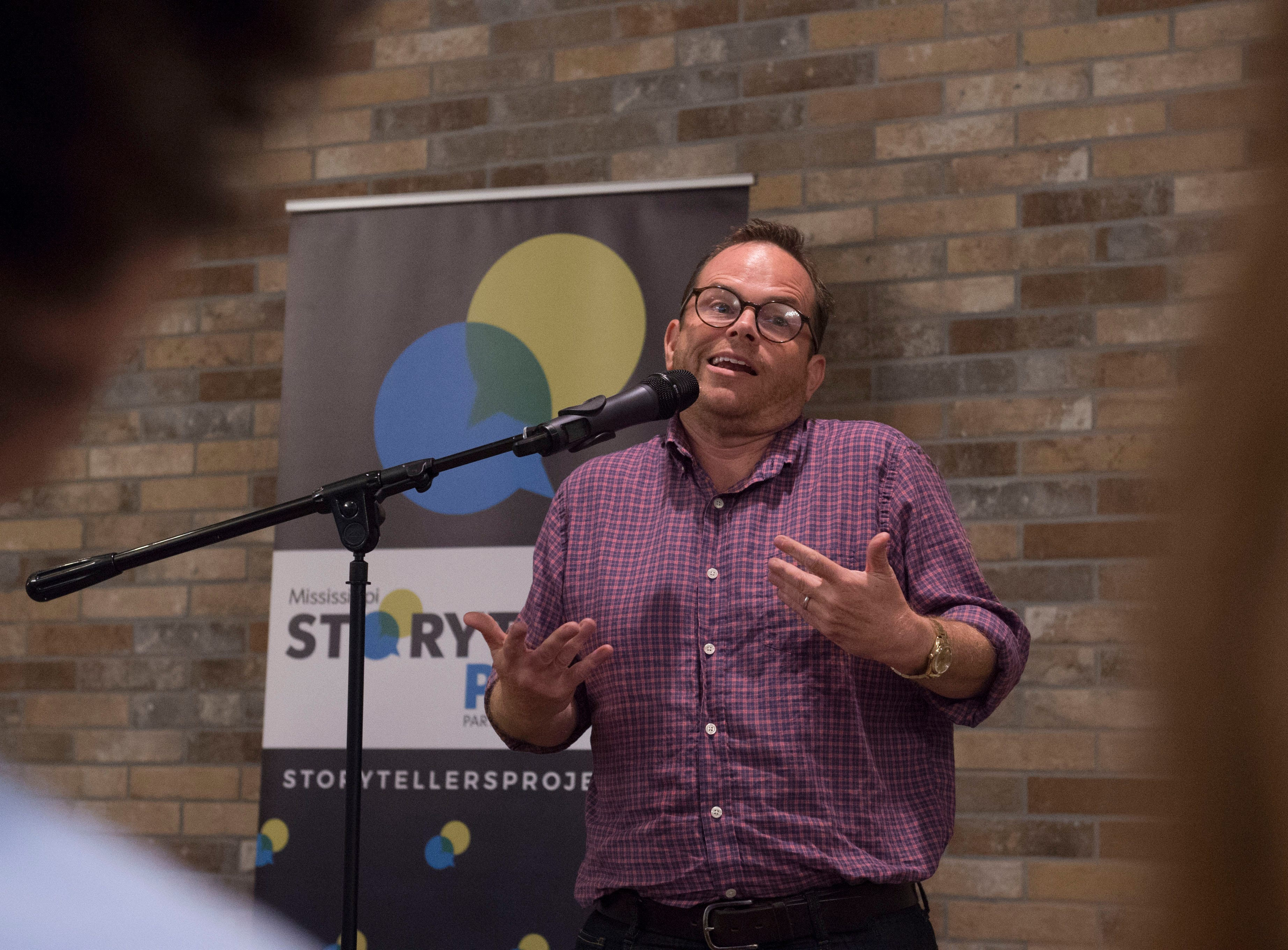 John C. Cox tells about his dad, a Chevron gas card and the lessons they taught during Mississippi Storytellers: Growing Up hosted by Rickhouse in Jackson. Tuesday, Sept. 18, 2018.