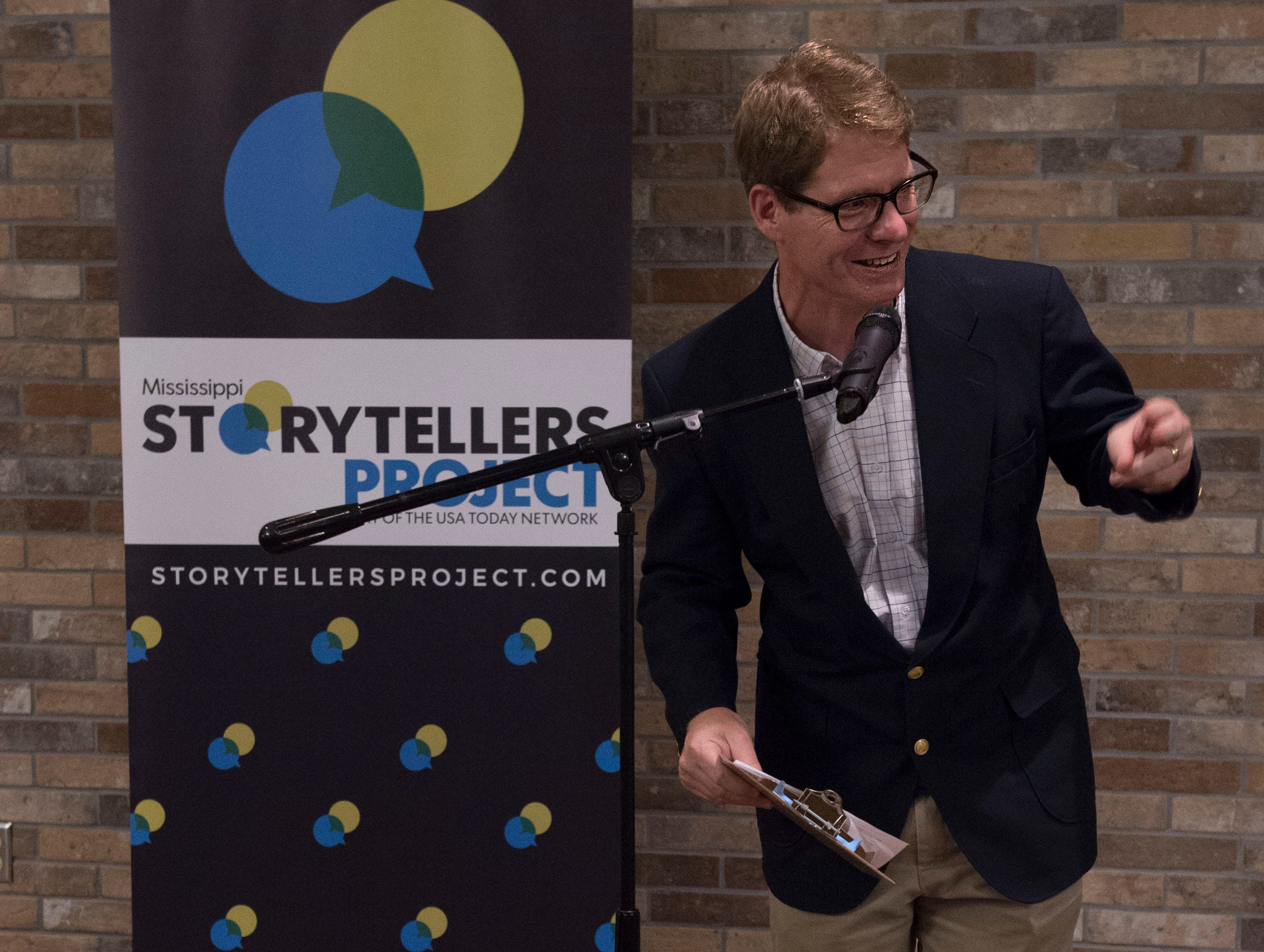 Clarion Ledger cartoonist Marshall Ramsey greets attendees of Mississippi Storytellers: Growing Up at Rickhouse in Jackson. Tuesday, Sept, 2018.