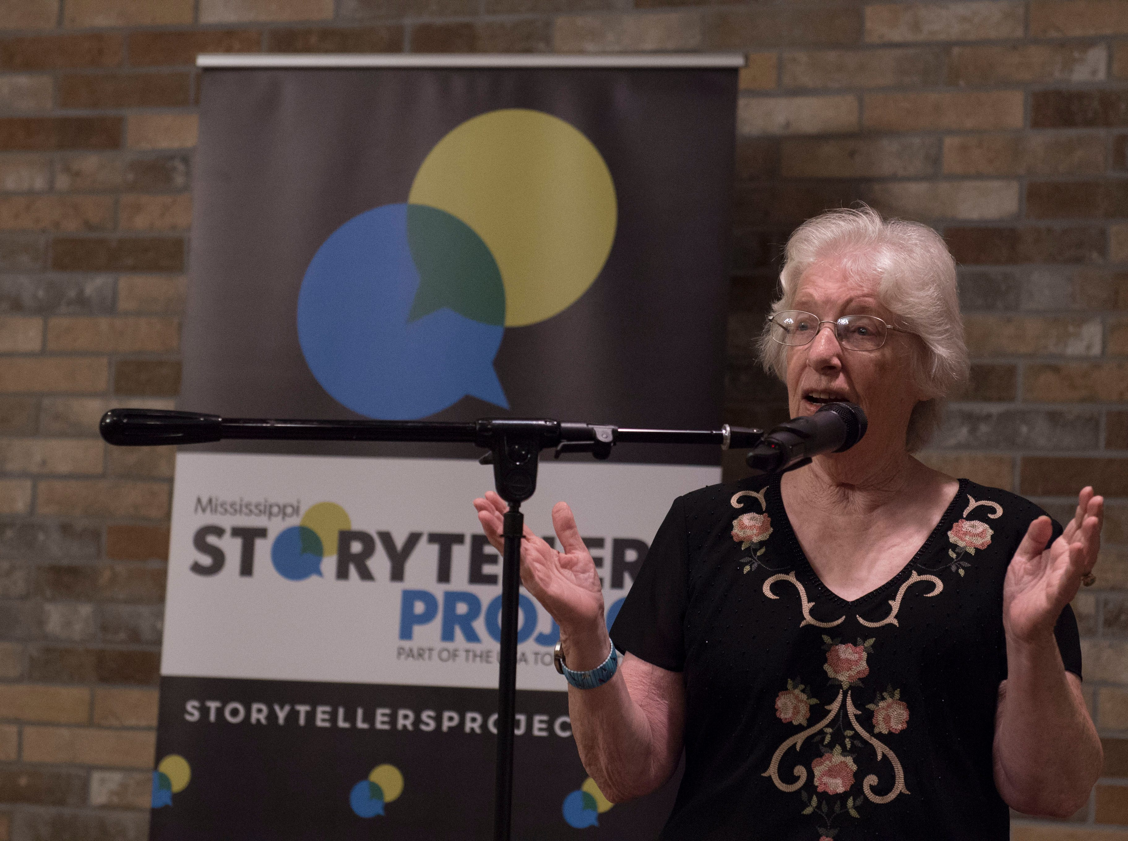 Nash Noble tells attendees of Mississippi Storytellers: Growing Up about a friendship that was more than skin deep. Tuesday, Sept. 18, 2018.