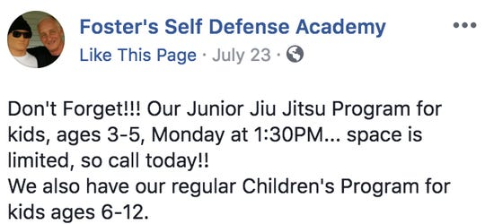 Foster's Self-Defense Academy offers lessons to children as young as 3