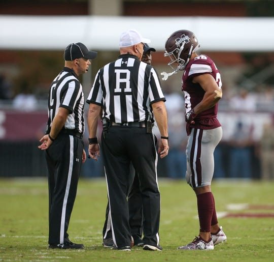 Mississippi State's Johnathan Abram (38) talks to officials during a timeout. Mississippi State and Florida played in an SEC college football game on Saturday, September 29, 2018, in Starkville. Photo by Keith Warren/Madatory Photo Credit