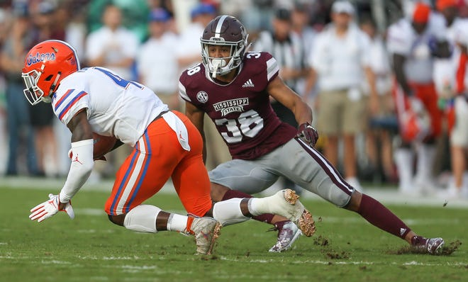 Mississippi State's Johnathan Abram (38) forces Florida's Kadarius Toney (4) to change directions in the first half. Mississippi State and Florida played in an SEC college football game on Saturday, September 29, 2018, in Starkville. Photo by Keith Warren/Madatory Photo Credit