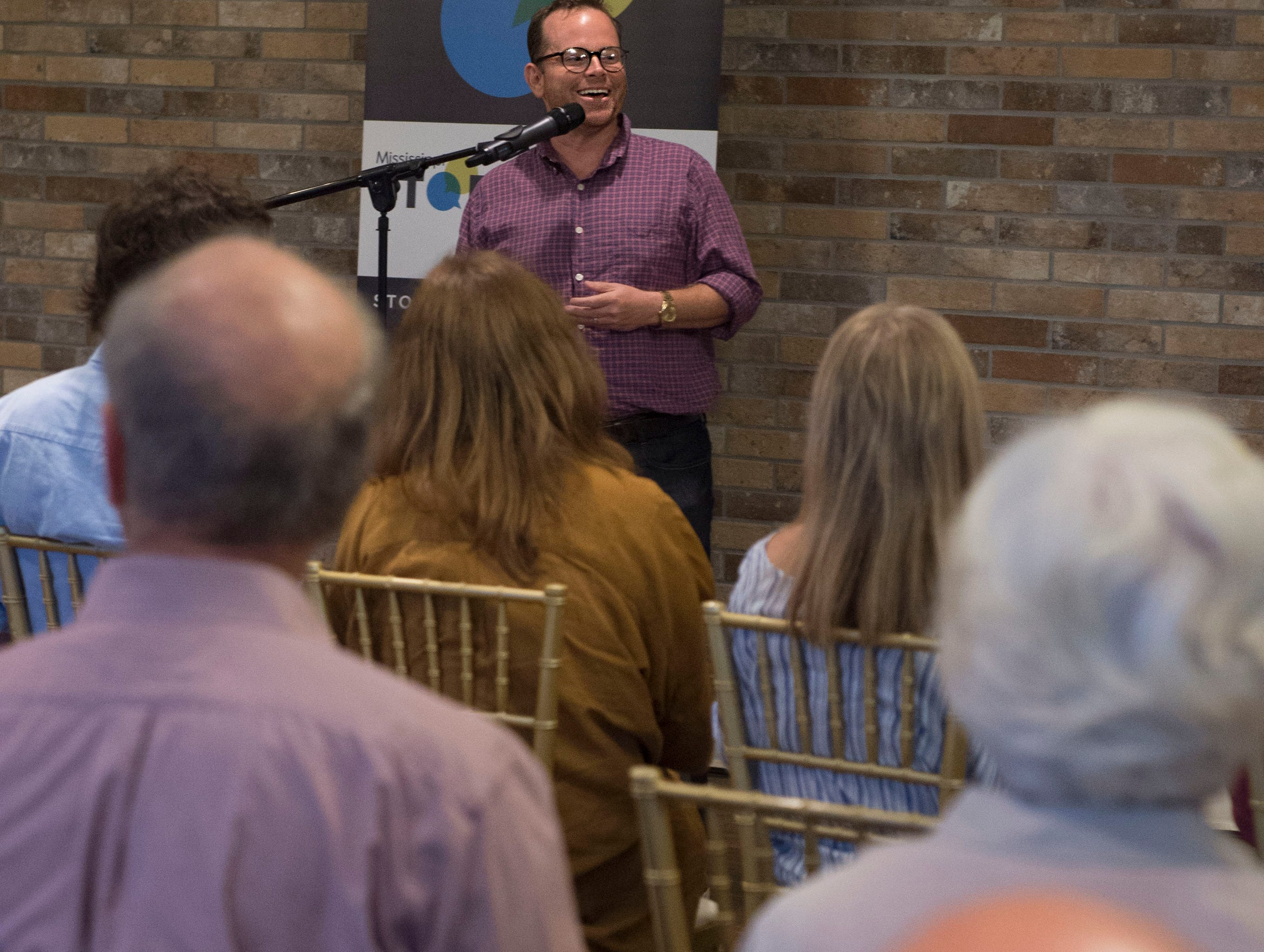 John C. Cox tells about his dad, a Chevron gas card and the lessons they taught, during Mississippi Storytellers: Growing Up, hosted by Rickhouse in Jackson. Tuesday, Sept. 18, 2018.