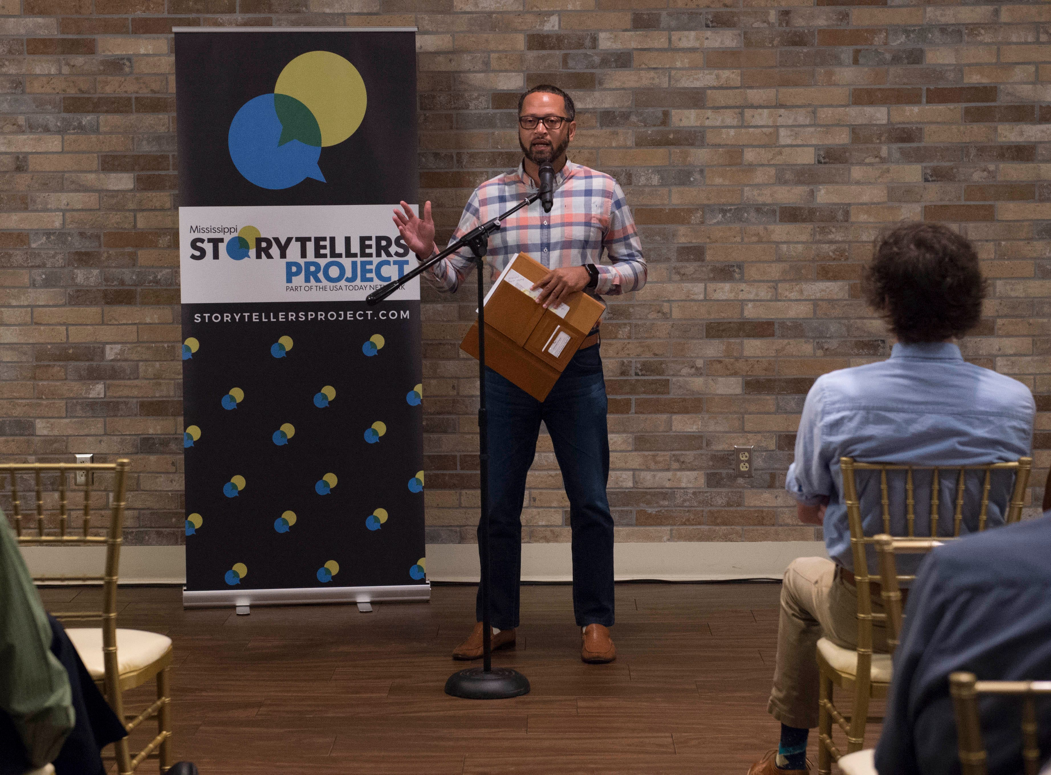 During Mississippi Storytellers: Growing Up, Marcus Burger shares how being a dad, a divorce and then a loss forced him to change his life. Tuesday, Sept. 18, 2018.