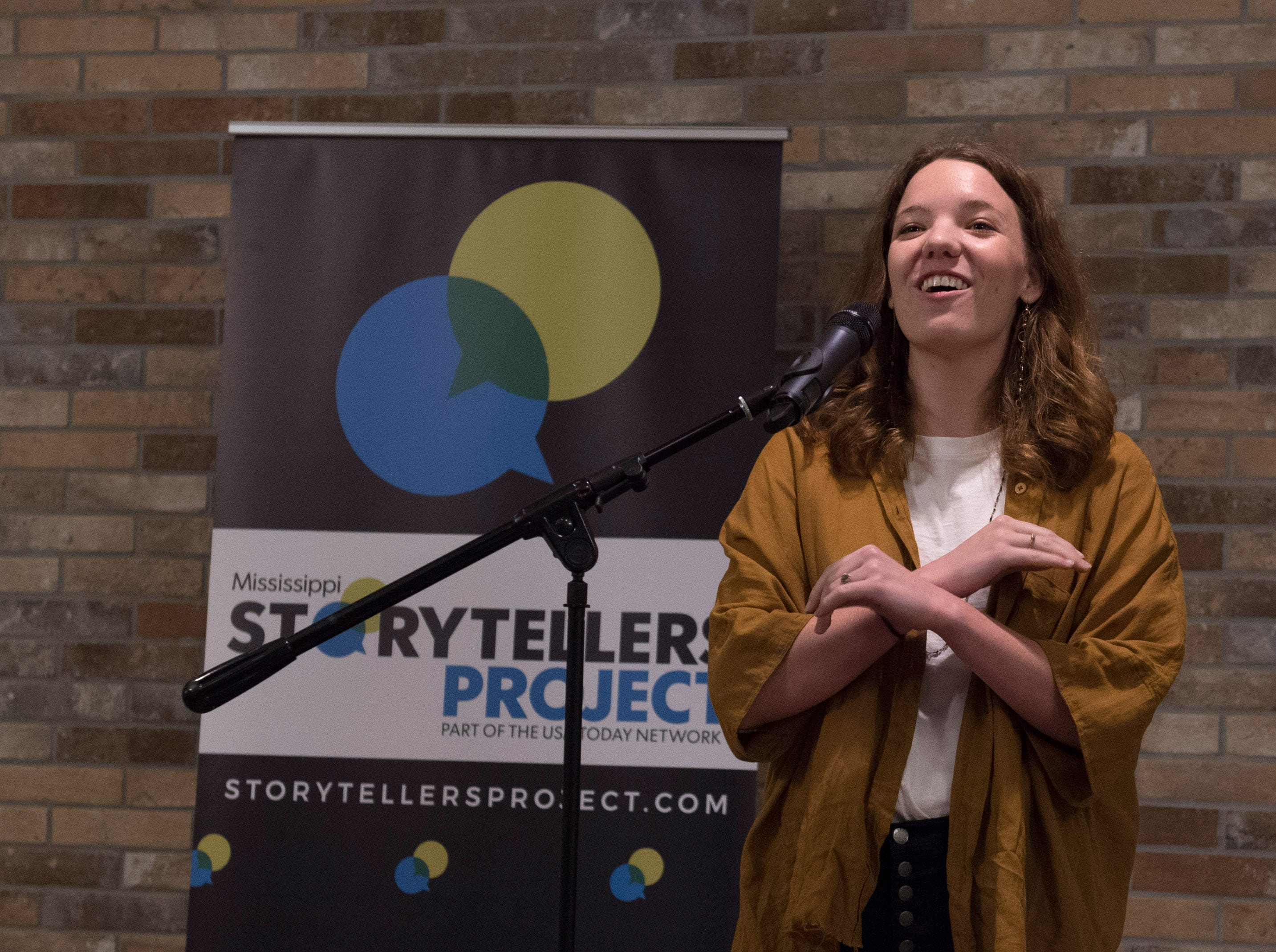 Clare Parrish talks about how a car named Debra moved her — and not just down the road during Mississippi Storytellers: Growing Up hosted by Rickhouse in Jackson. Tuesday, Sept. 18, 2018.