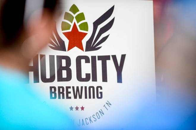 The logo for the new brewery was displayed on a poster during the announcement of Hub City Brewing, a tap room to open in a former Ford Model T dealership at 250 W Main Street in Jackson, Tenn., on Monday, Oct. 1, 2018.