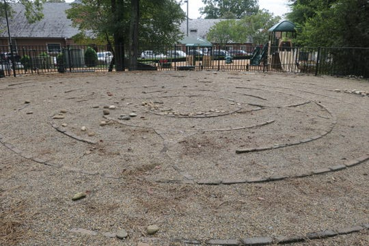 The labyrinth at Sequoyah Hills Presbyterian Church is on a hill behind the church playground.