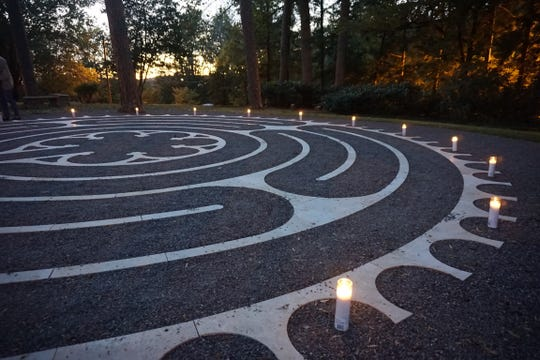 """St. Stephen's Episcopal Church in Oak Ridge commissioned its labyrinth in 2017. The labyrinth is set in the church's """"grove"""" area."""