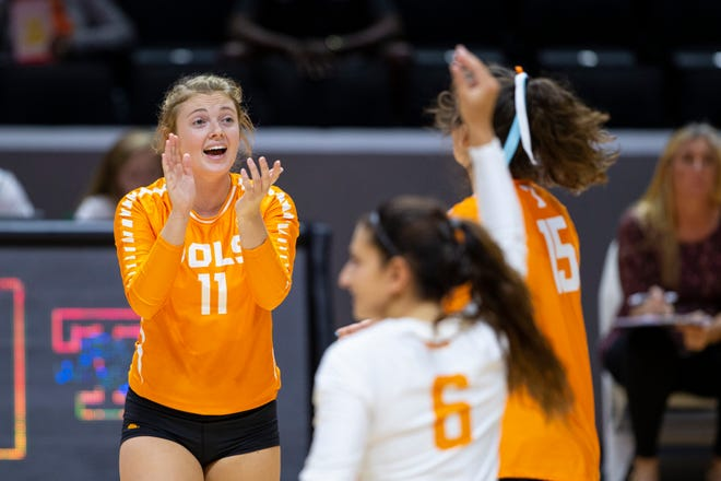 Tennessee setter Sedona Hansen applauds after a point against North Florida on Sept. 1, 2018  at Thompson-Boling Arena in Knoxville.