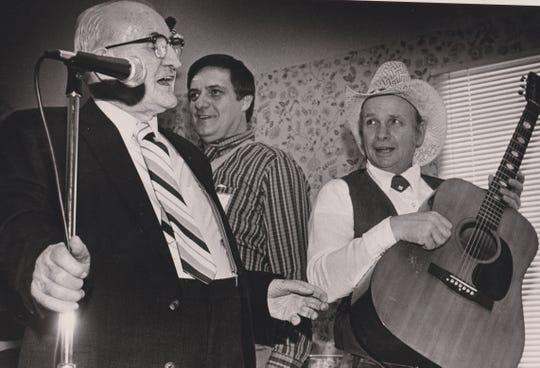Cas Walker and the Cider Mountain Boys at his birthday party in 1987.