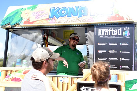Kona Ice helped guests stay cool during the Run with Goats event at Shangri-La Therapeutic Academy of Riding on Sunday, September 30, 2018.