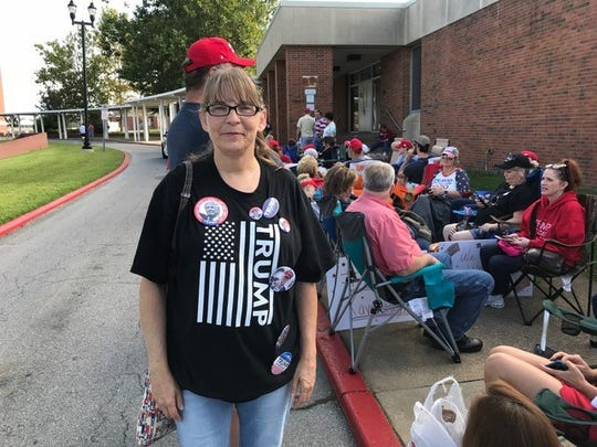 Lyn McKinney waits in line outside Freedom Hall Civic Center in Johnson City for the Donald Trump rally on Monday, Oct.1, 2018.