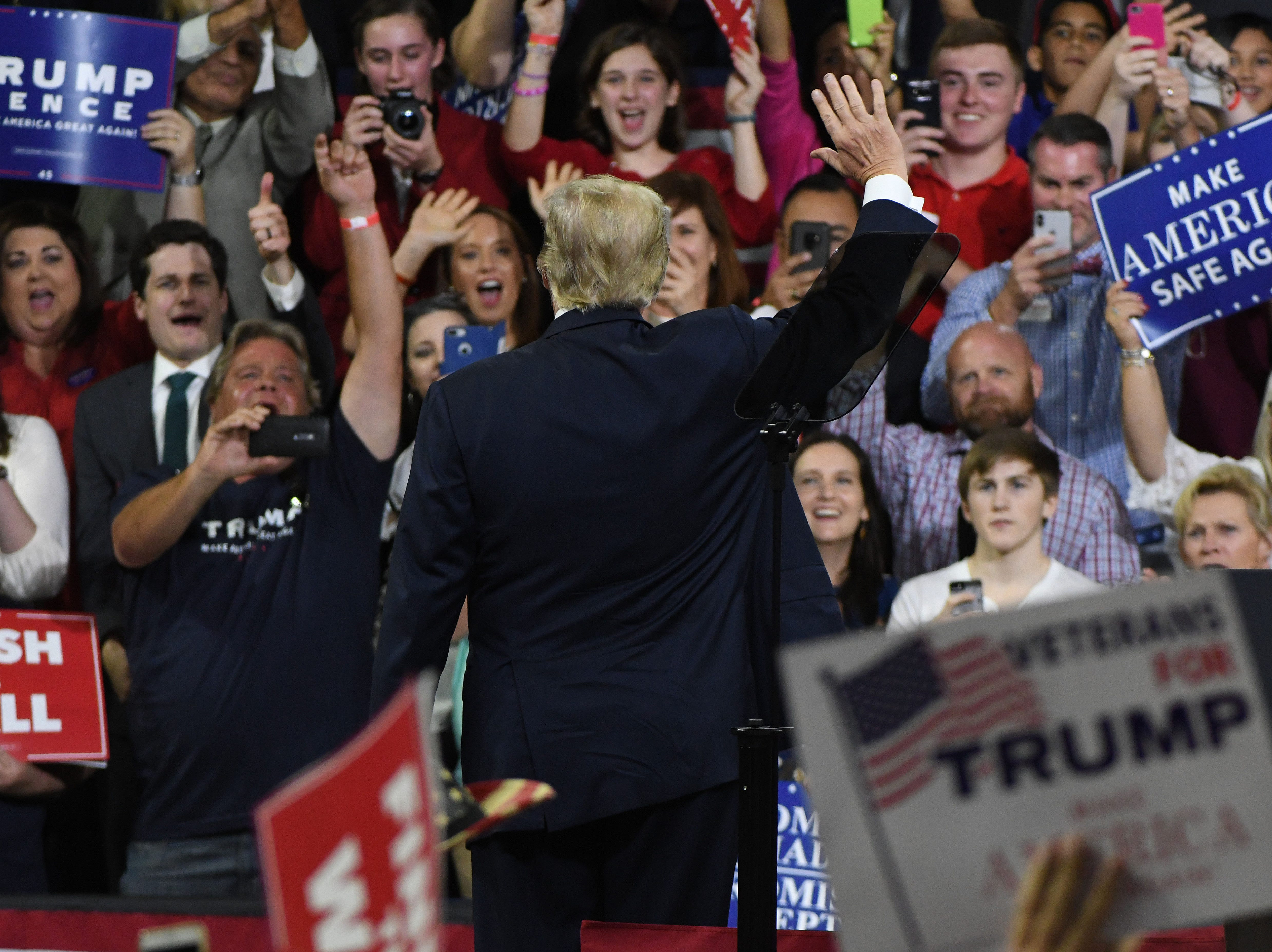 President Donald Trump greets the crowd during the Make America Great Again Rally for Marsha Blackburn Monday, October 1, 2018 in Johnson City.