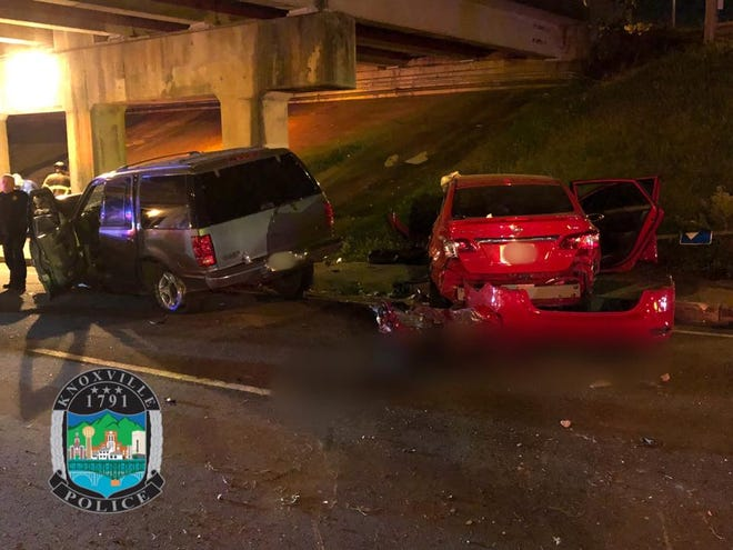 Pictured is the scene of a wreck that killed one person on Woodland Avenue at the Interstate 275 overpass in Knoxville on Sept. 30, 2018.