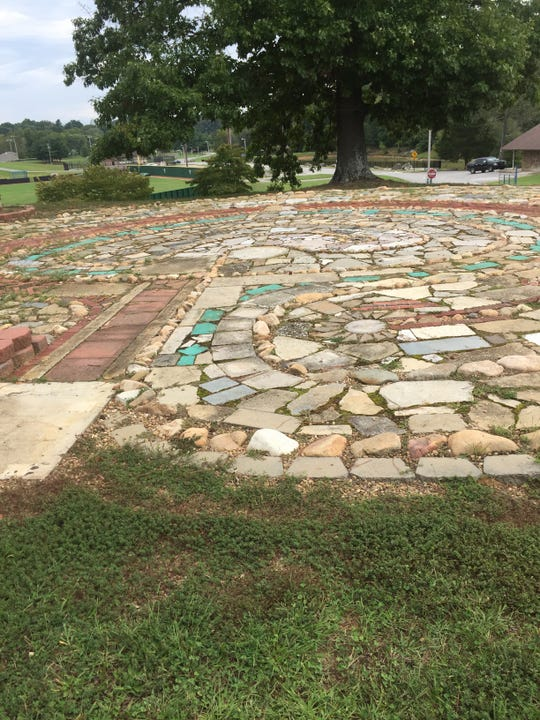 The labyrinth at Greeneville Middle Schol used recycled and donated materials.