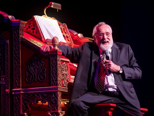 Dr. Bill Snyder speaks before playing the Mighty Wurlitzer organ for the last time during a special Mighty Musical Monday celebrating Snyder's retirement at the downtown Knoxville theatre Oct. 1, 2018. Snyder has been the organist at the theater since 1979. This particular Mighty Musical Monday also landed on the Tennessee Theatre's 90th anniversary.