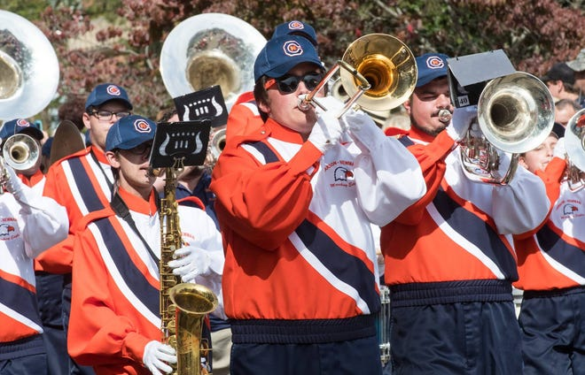 The Carson-Newman University marching band plays at the 2017 Mossy Creek Festival Homecoming parade.