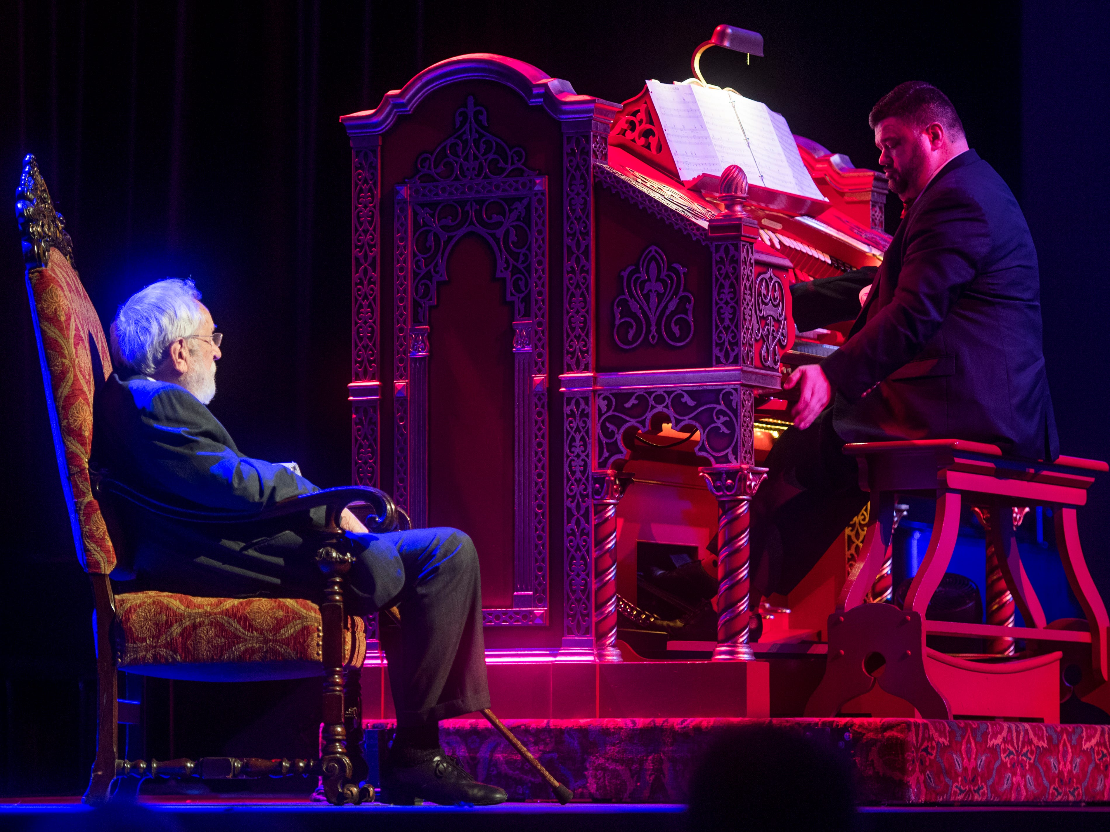 Freddie Brabson, who will assume the role of house organist at the Tennessee Theatre, plays the Mighty Wurlitzer organ as Dr. Bill Snyder, left, listens during a special Mighty Musical Monday celebrating Dr. Bill Snyder's retirement at the downtown Knoxville theatre on Monday, October 1, 2018. This particular Mighty Musical Monday also landed on the Tennessee Theatre's 90th anniversary.