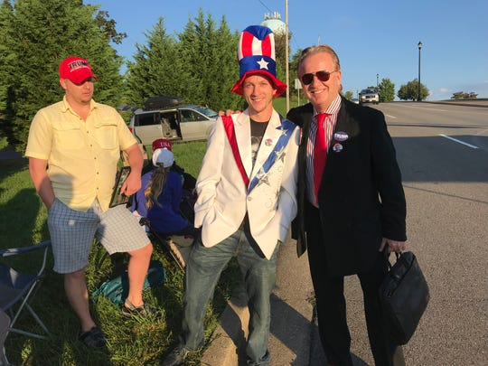 Tennesseans lining up Monday morning for President Donald Trump's Johnson City rally were (from left) Seth Babb of Elizabethton, Nathan Raines of Kingsport, and Richard Snowden of Gordonsville.