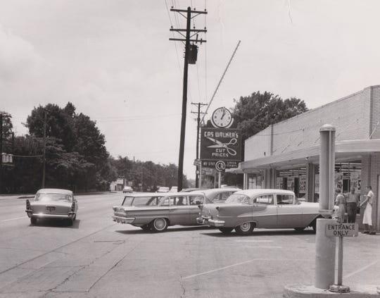 Parking outside of Cas Walker's in Bearden in 1961.