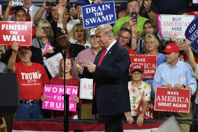 President Donald Trump gives a thumbs-up to the crowd during the Make America Great Again Rally for Marsha Blackburn on Monday, October 1, 2018 in Johnson City.