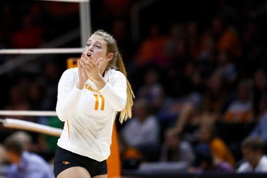 Tennessee setter Sedona Hansen during a game earlier this season at Thompson-Boling Arena.