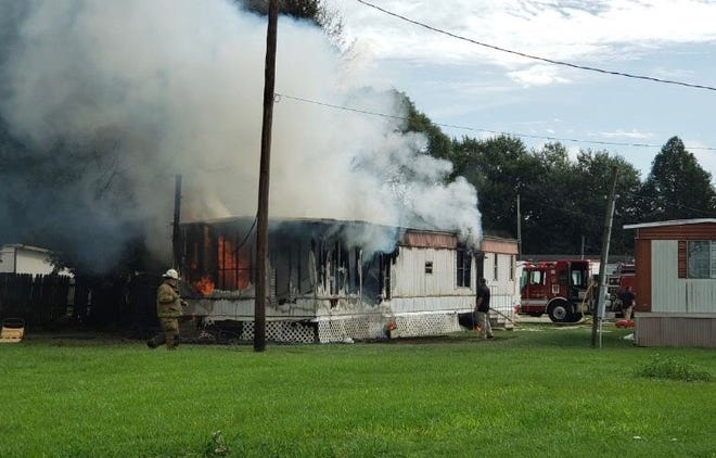 A mobile home was destroyed in a fire Monday morning in Scott.