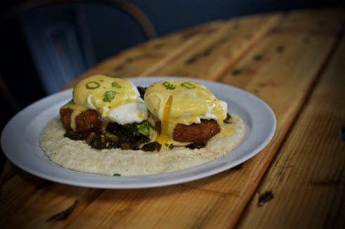 Graton Eatery in St. Martinville offers breakfast options like this boudin benedict.