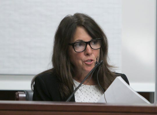 Livingston County District Court Judge Theresa Brennan responds to questions about a previous deposition in the Judicial Tenure Commission hearing Monday, Oct. 1, 2018.