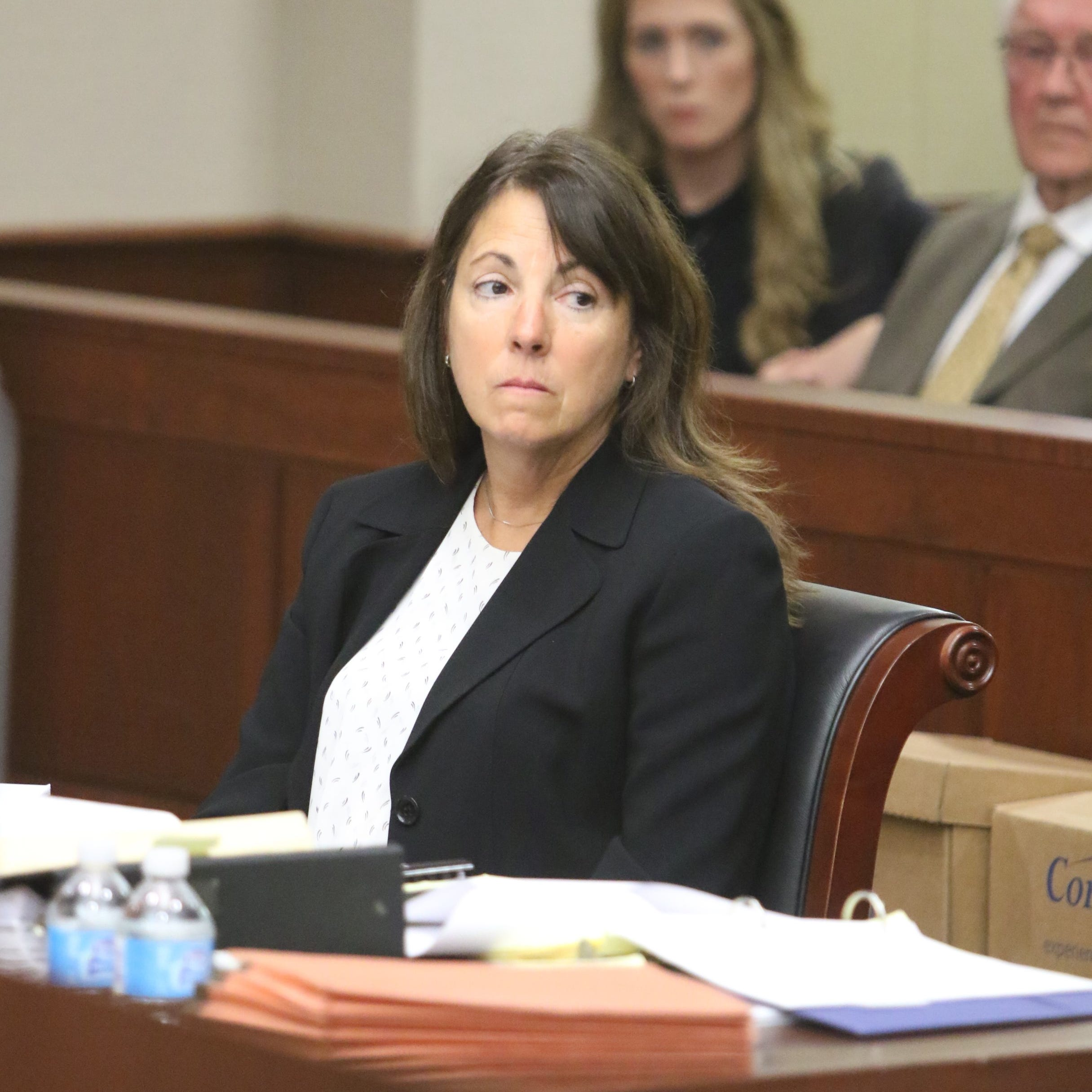 Livingston County Judge Theresa Brennan waits for the Judicial Tenure Commission hearing to begin Monday, Oct. 1, 2018.
