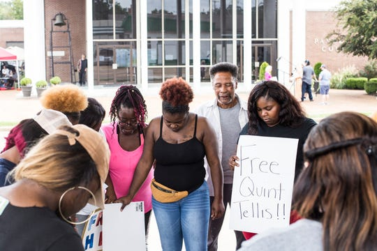 October 01 2018 -  A group of Quinton Tellis supporters pray outside of the Panola County Courthouse during the seventh day of the retrial of Quinton Tellis on Monday. Tellis is charged with burning 19-year-old Jessica Chambers to death on Dec. 6, 2014. The jury could not reach a unanimous decision which resulted in a mistrial.